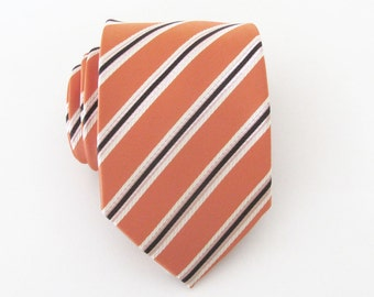 Mens Ties. Orange Brown Stripes Mens Necktie