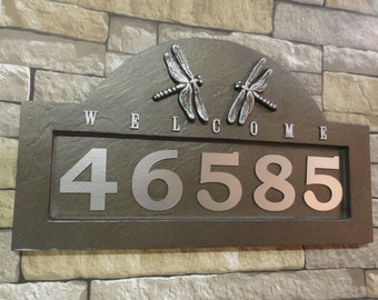 Arts and Crafts DRAGONFLY ADDRESS PLAQUE / House Numbers Craftsman Rubbed Bronze Large