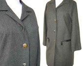 Vintage Claire McCardell Coat Gray Wool Sporty Car Length Coat M / L