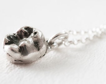 Girls Baby Tooth Necklace in Sterling Silver Molar Tooth