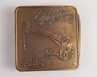 Vintage 80s Eightie Series FMC Tractor Belt Buckle Brass Tone