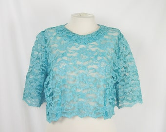 Turquoise Lace Crop Top Pullover Shirt Vintage 60s Clothing