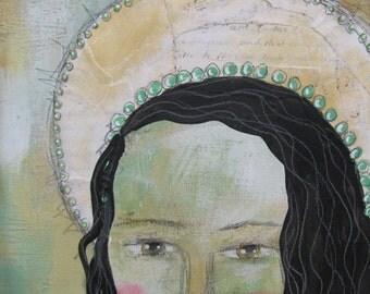 SALE Original Mixed Media Angel Painting PFATT