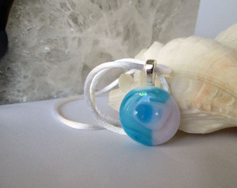 Baby Blue and Pink Fused Glass Necklace on White Satin Cord