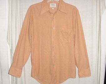 Vintage 70s Mens Poly Knit Orange Disco Shirt L