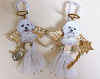 Bichon Frise ANGEL vintage style CHENILLE ORNAMENTS set of 2 feather tree