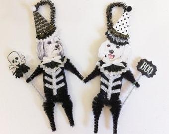 Maltipoo SKELETON Halloween vintage style CHENILLE ORNAMENTS set of 2