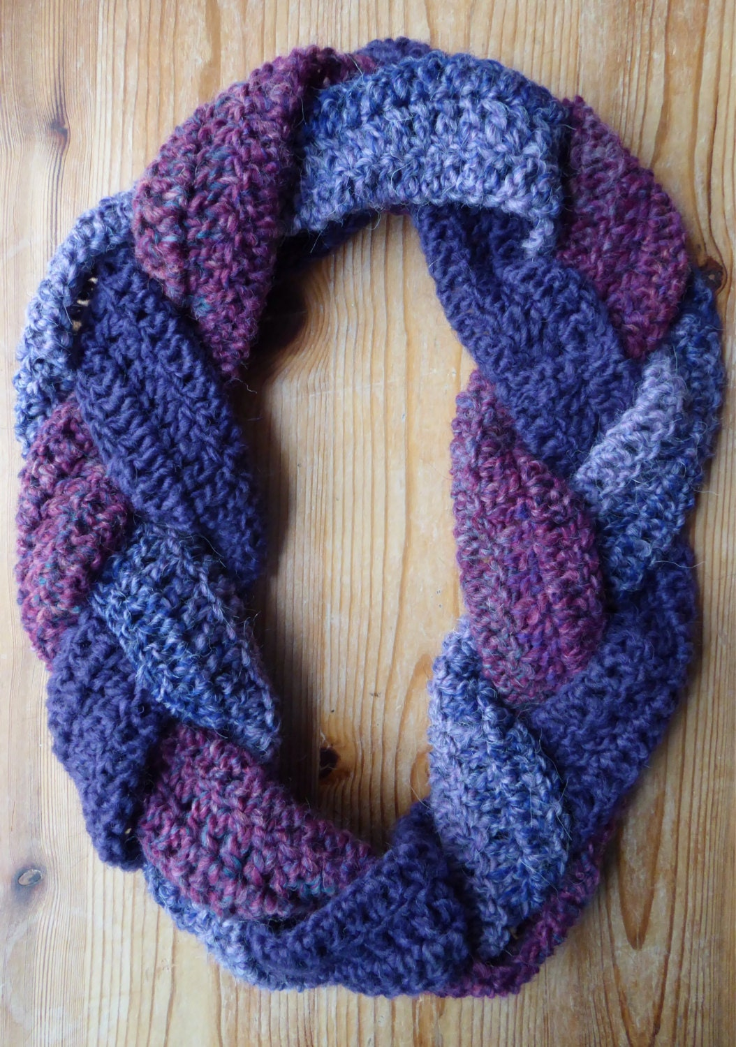 Crochet braided infinity scarf purples/pinks