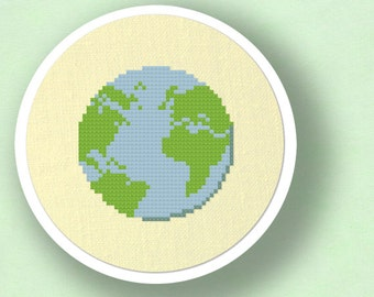 Earth. Modern Simple Cute Cross Stitch Pattern. PDF File
