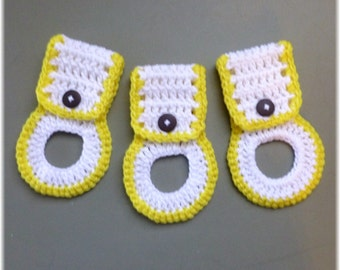 Kitchen Towel Holders , Crochet Towel Hangers, Housewarming Gift, Home Decor,Removable, White with Yellow Trim