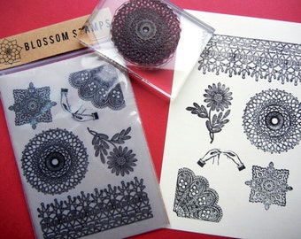 Crochet Lace Rubber Stamp Set Unmounted -  Handmade rubber stamps by Blossom Stamps