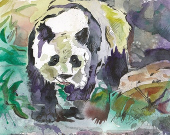 Watercolor Painting of a Panda Bear - Original watercolor and Ink Painting by Jen Tracy