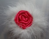 Valentines Day Hot Pink Rosette Hair Clip with Marabou Feathers for Humans or Dolls