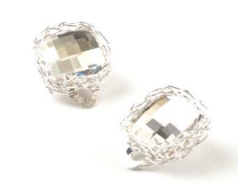 White Crystal Clip-On Earrings wedding bridal earrings Wire crochet silver earrings Shiny Swarovski square clip on evening jewelry