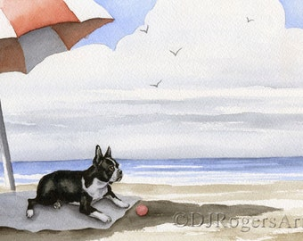 """Boston Terrier Art Print """"BOSTON TERRIER At The Beach"""" Signed by Watercolor Artist DJ Rogers"""