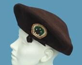 Vintage 40s Oversized Felt Beret Hat Meadowbrook