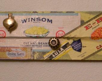 Altered Art Coat Rack, Vintage Vegetable Labels