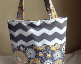Large Gray Floral and Chevron Tote Bag Purse with Damask Interior STUNNING