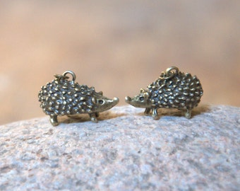 Hedgehog long dangle earrings necklace Valentine gift for her jewelry bronze chain teenager girl Thanksgiving autumn fall