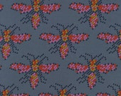 De-Statsh Sale- Cotton and Steel Fabric- I Heart Bees in Gray , Mustang, Melody Miller  - 1 yards only