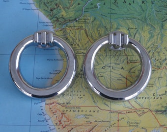 SALE! 2 vintage round open silvertone metal pull handles