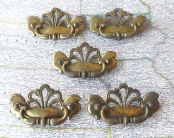 SALE! 5 vintage curved open design distressed brass metal pull handles*