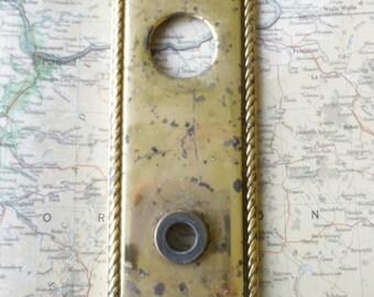 SALE! Vintage heavy brass metal doorplate for doorknob/decor/projects