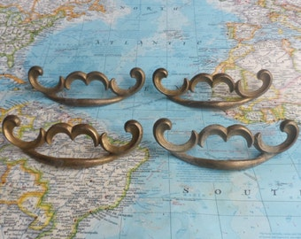 SALE! 4 mid century curvy design distressed brass metal handles