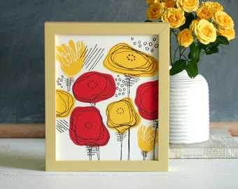 Red and Yellow Poppies hand-pulled screenprinted art print