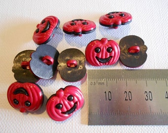 Red and Black Pumpkin Buttons set of 10