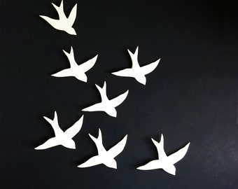 Flock - Wall art Swallows Porcelain bird wall sculpture Ceramic art for bathroom, bedroom, living room, kitchen decor set of 7