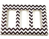 Triple Rocker Light Switch Cover Wall Decor Switchplate Switch Plate in  Black Chevron  (150TR)