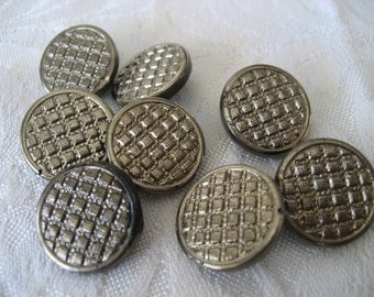 Set of 8 VINTAGE Silver Luster Black Glass BUTTONS