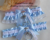 Sheriff Wedding Garters Star Badge Charms Handmade Blue and White Garters