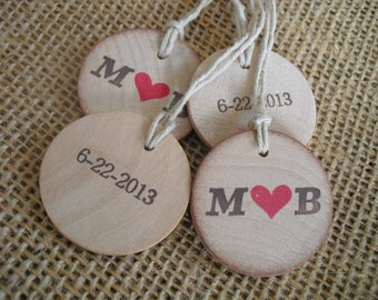 Wedding Favor Tags Personalized Wood Circles Initials with Hearts - Set of 10 - Item 1545