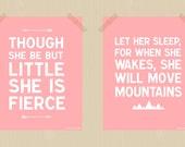 Printable Baby Girl Nursery Print Set 8 x 10 Though She Be But Little Let Her Sleep Daughter Print Set Girl's Bedroom Print Set Pink White