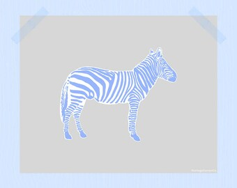 Zebra Digital Print Blue and Gray Animal Printable 8 x 10 Nursery Print Zebra Print Zoo Print Animal Print Light Blue Silver Nature Print