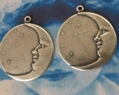 Celestial Sterling Silver Ox Plated Moon Brass Charms 135SOX x2