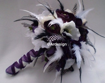 VINTAGE VIXEN VAMP Wedding Bouquet With Lots of Feathers