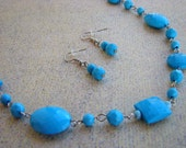 READY TO SHIP - Sale - Bright Blue Beaded Necklace & Earrings Set - Bella Mia Beads