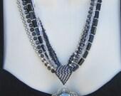 Hematite Cabochon Pendant, Gem Stone Pendant, Peyote Beadwork Bail, Multi Strand, 7 Strands, Marcasite Clasp, Black and Gray, BLACK BEAUTY