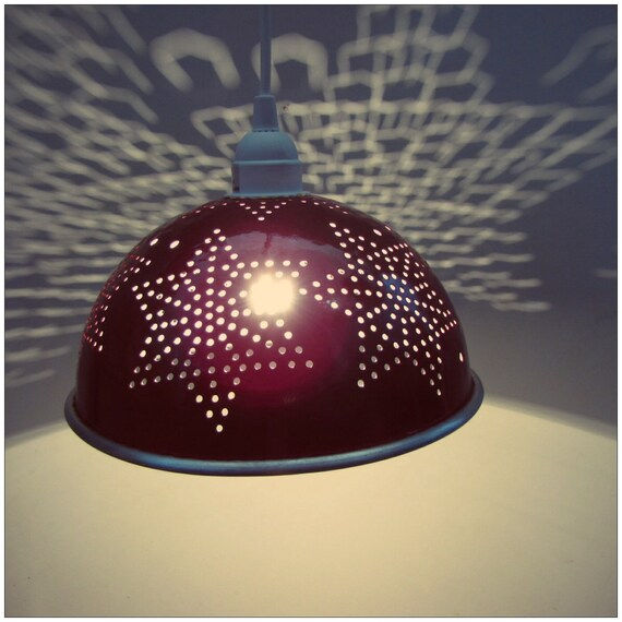 candy apple red hanging colander light fixture