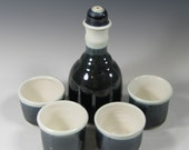 Ceramic Barware Set - Bar ware - Whiskey Cups with bottle  - Decanter - Serving - Entertaining