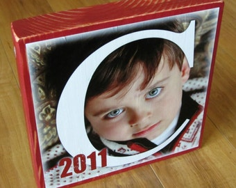 TWO-Sided PERSONALIZED Photo Blocks- EXTRA large- 9 inch square custom design