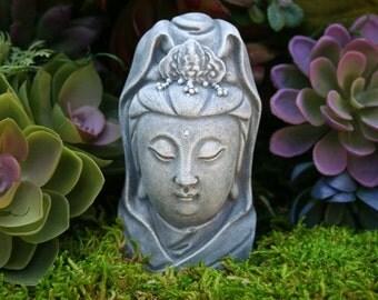 Kuan Yin Bust   Miniature Concrete Statue Of Goddess Quan Yin, Kwan Yin,  Guanyin