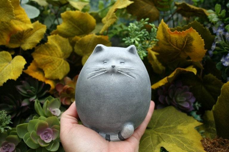 Fat cat statue abstract concrete kitty zen cat outdoor for Statue jardin zen