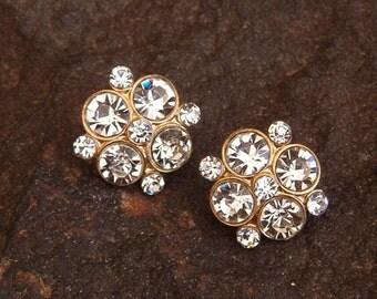 Earrings, Vintage Gold Tone Rhinestone Pierced Earrings