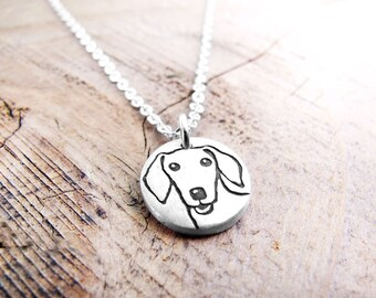 Tiny Doxie necklace, silver Dachshund necklace, dog memorial jewelry, dog breed necklace