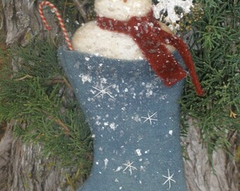 Instant Download Primitive Flakey Snowman Ornie Epattern