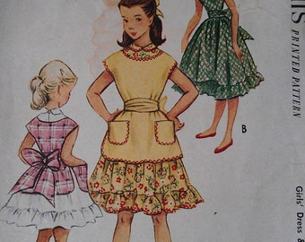 Vintage 1940s Girl's Ruffled Flounce Jumper Pinafore Apron Party Dress Sash Sewing Pattern 8956 Size 6